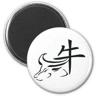 Buey chino del zodiaco imán redondo 5 cm