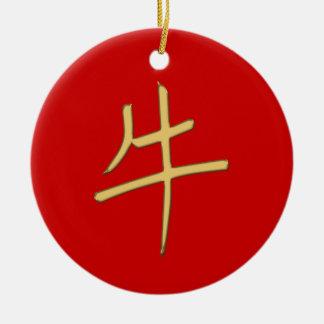 buey del oro adorno navideño redondo de cerámica
