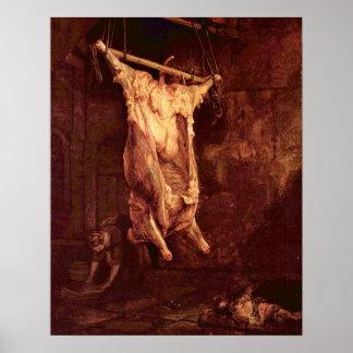 Buey matado de Rembrandt Harmenszoon van Rijn Póster