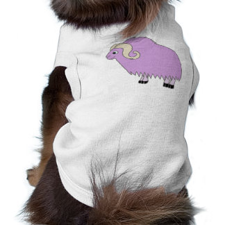 Buey purpúreo claro con los cuernos encrespados playera sin mangas para perro