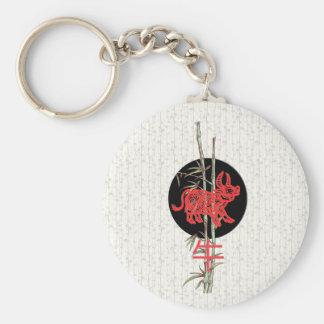 Buey (zodiaco chino) llavero redondo tipo pin