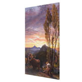 Bueyes que aran en la puesta del sol (w/c en el pa lona estirada galerías
