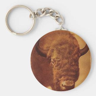 Búfalo/bisonte Llavero Redondo Tipo Pin