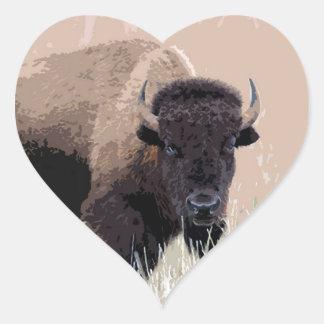 Búfalo/bisonte Pegatina En Forma De Corazón
