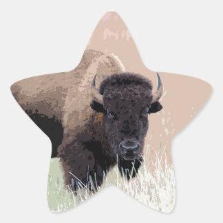 Búfalo/bisonte Pegatina En Forma De Estrella