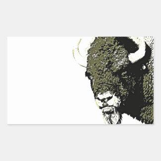 Búfalo - bisonte pegatina rectangular