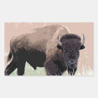 Búfalo/bisonte Pegatina Rectangular