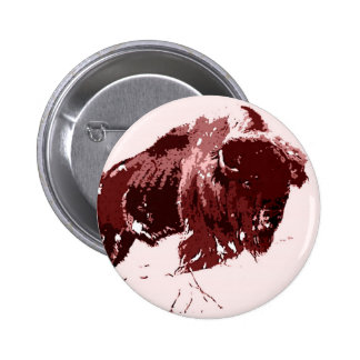 Búfalo - bisonte pin redondo de 2 pulgadas