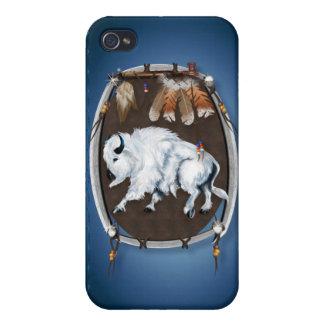 Búfalo blanco Escudo-azul iPhone 4 Carcasa