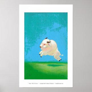 Búfalo blanco que salta la pintura del arte cuando impresiones