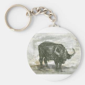 Búfalo Bull Llavero Redondo Tipo Pin