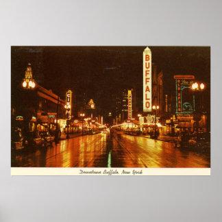 Búfalo céntrico NY en el vintage de la noche Impresiones