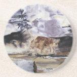 Búfalo de Yellowstone en práctico de costa del inv Posavasos Manualidades