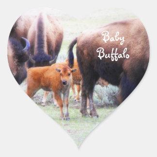 Búfalo del bebé en Yellowstone nacional. Parque - Pegatina Corazón