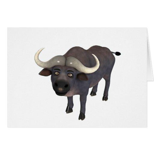 Búfalo del cabo del dibujo animado tarjeta de felicitación