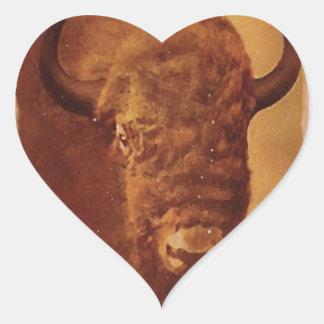 Búfalo del vintage pegatina en forma de corazón