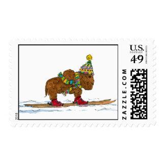 búfalo en los esquís sellos postales