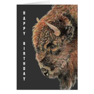 Búfalo general del cumpleaños, bisonte, animal de  tarjeton