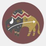 Búfalo indio tribal etiqueta redonda