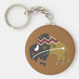 Búfalo indio tribal llavero redondo tipo pin