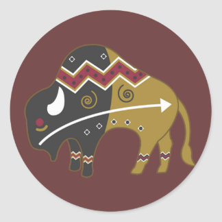 Búfalo indio tribal pegatina redonda