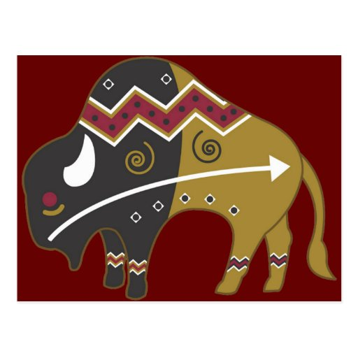 Búfalo indio tribal postal