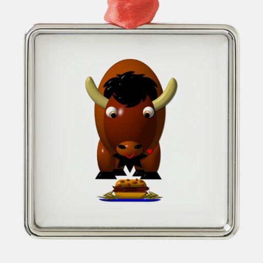Búfalo lindo w/Beef en Weck y las alas de búfalo Adorno Navideño Cuadrado De Metal