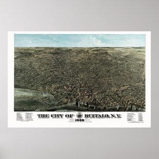 Búfalo, mapa panorámico de NY - 1880 Posters