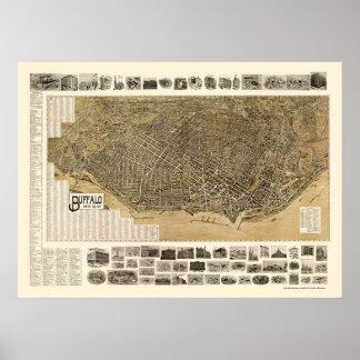 Búfalo, mapa panorámico de NY - 1902 Poster