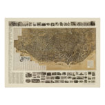 Búfalo, mapa panorámico de NY - 1902 Póster