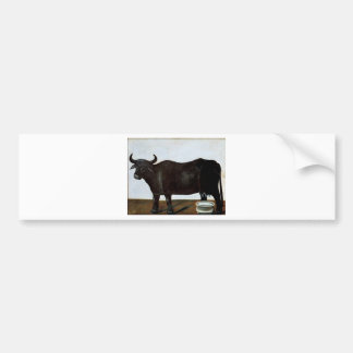 Búfalo negro en un fondo del blanco (parte de pegatina para auto