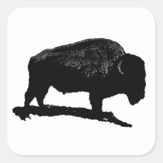 Búfalo negro y blanco pegatina cuadrada