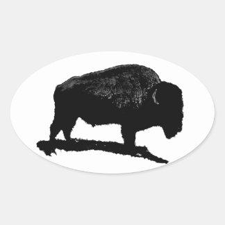 Búfalo negro y blanco pegatina ovalada