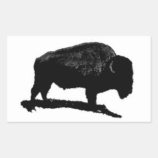 Búfalo negro y blanco pegatina rectangular