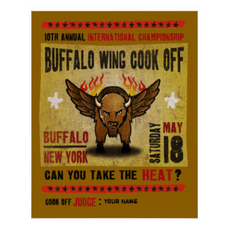 Búfalo, NY - autodisparo caliente del ala de búfal Póster