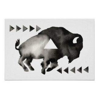 Búfalo soñoliento geométrico. Arte de la MOD. Blan Póster