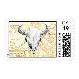 Búfalo y mapa temprano de Montana Sellos