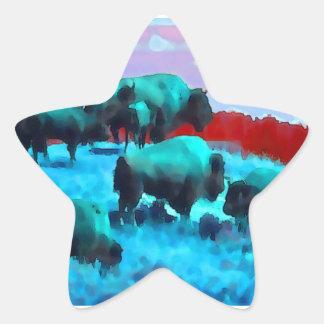 Búfalos Pegatina En Forma De Estrella