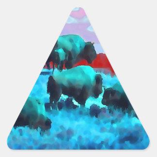Búfalos Pegatina Triangular