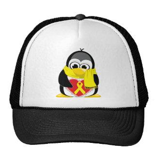 Bufanda amarilla del pingüino de la cinta gorro de camionero