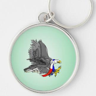 Bufanda blanca de Eagle y azul roja calva Llavero Redondo Plateado