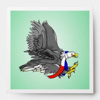 Bufanda blanca de Eagle y azul roja calva Sobres
