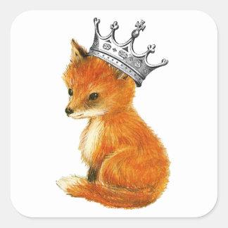 Bufanda de la corona del vintage del Fox del bebé Pegatina Cuadrada