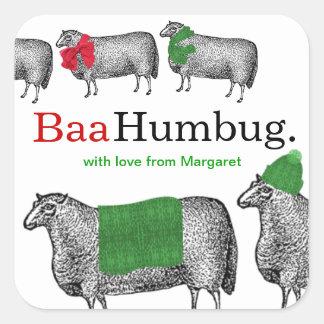 Bufanda de la manta del gorra de las ovejas del na pegatinas cuadradases personalizadas