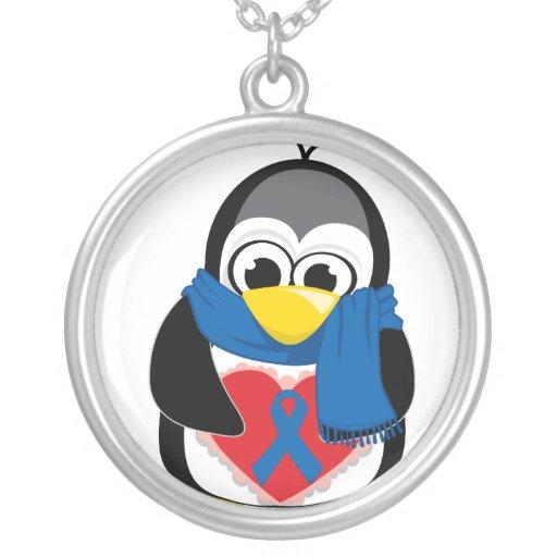 Bufanda del pingüino de Blue Ribbon Colgante Redondo