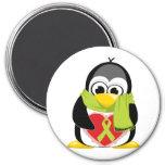 Bufanda del pingüino de la cinta de la verde lima imanes de nevera