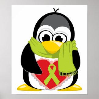 Bufanda del pingüino de la cinta de la verde lima póster