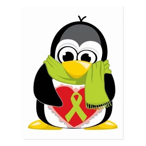 Bufanda del pingüino de la cinta de la verde lima postal