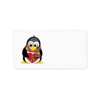 Bufanda del pingüino de la cinta del autismo etiquetas de dirección