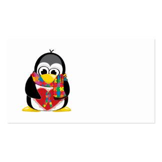 Bufanda del pingüino de la cinta del autismo tarjetas de visita